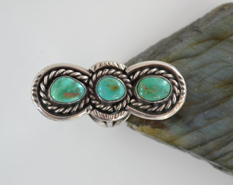 Vintage Southwest Navajo Sterling Silver & Turquoise 3 stone Ring