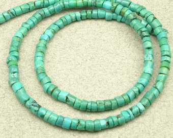 green Chinese turquoise heishi beads 16 inch 4 mm