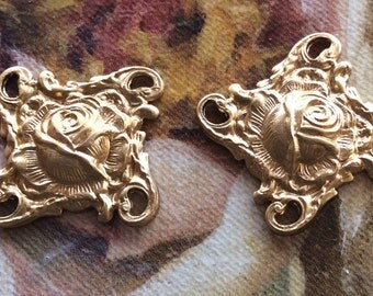 raw brass Rose floral 4 loop connectors 4 pc