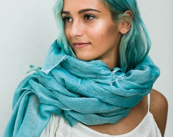 Turquoise Scarf Extra Long Cotton Scarf Beach Sarong Pareo Summer Scarves Women's Gift By Hanamer