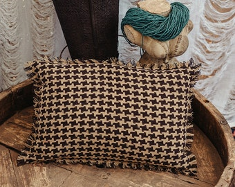 12x18 Rectangle Throw Pillow Cover In Beige Brown Knit Cotton, Tribal Pillow, Cushion Cover, Accent Pillow, Throw Pillow