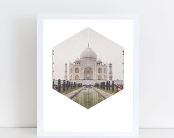 Taj Mahal Art Print - Inspirational Indian Landmark Wall Art, World Wonder Geometric Photography, Printable Spiritual Architecture Poster