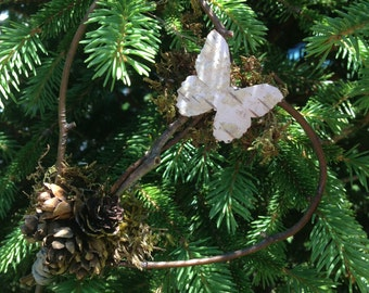 Nature Inspired Heart Shaped Ornament made with Branches, Moss, Birch and Mini Pinecones
