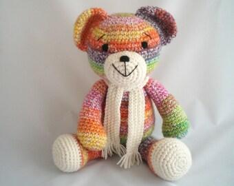 Crochet Large Teddy Bear / Amigurumi Teddy Bear /  Crochet Plush Bear / Giant sized Teddy Bear / Hand Made, Teddy Bear soft toy with scarf.