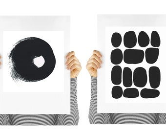 Set of two art prints, Modern shapes, circles,  digital download, home decor, modern decor, minimalist design, black and white