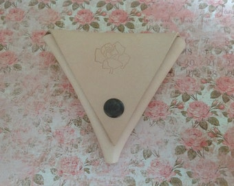 Leather Triangle Coin Purse, Triangle Wallet, Leather Triangle Wallet, Wallet