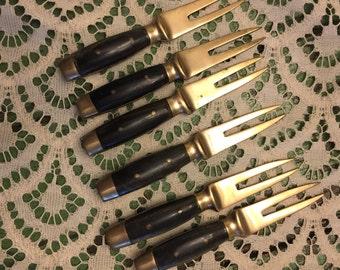 Bronze & wood corn picks; hor'dourves picks;
