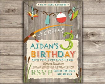 Fishing Birthday Invitations We're Reel Excited Printable Rustic Tackle Digital  boy Wood fishing Pole Officially Reel Excited NV874