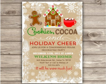 Gingerbread House Decorating Party Invitations Gingerbread Man Cookie Party Holiday Party Invitations Christmas Kids Christmas Party NV2011