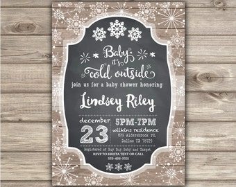 Baby It's Cold Outside Baby Shower Invitation Boy or Girl Chalkboard Snowflake Baby Shower for baby Gender Neutral NV781