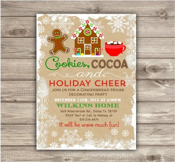 Gingerbread house decorating party invitations gingerbread man Gingerbread house decorating party invitations