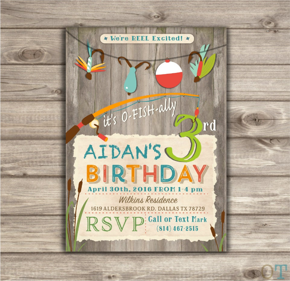 Fishing Birthday Invitations We're Reel Excited Printable