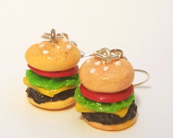 Miniature Cheese Hamburger Earrings with Silver Plated or Sterling Silver your choice
