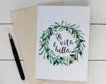 La Vita e Bella wreath 5 x 7 Watercolor Greeting Card/ A7 Watercolor Greeting Card / Love Birds