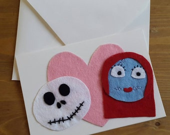 Nightmare Before Christmas Jack and Sally Valentines Day Card