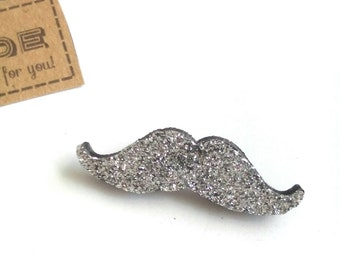 Silver Moustache Badge, Glitter Badge, Geeky Moustache Jewelry, Moustaches, Bag Pins, Moustache Brooch, Funky Brooches, Geekery