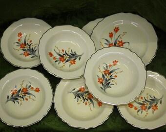 WS George Canarytone LIDO Dessert Plates and Small Bowls Dinnerware, Orange Flowers USA