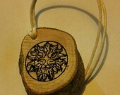 Greenman / Supernatural TYPE 1 / 2 DIABETES medical ID alert charm or key ring Celtic engraved wooden diabetic id warning necklace unisex