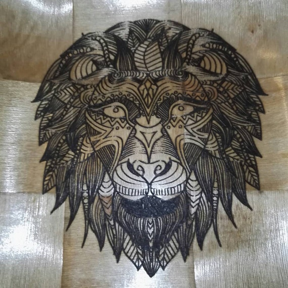 AFRICAN LION NATURAL wooden bamboo bowl unique fruit / egg basket / nic naks engraved table decoration
