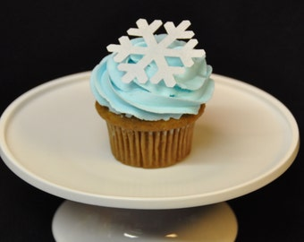 Edible Snowflake, Cupcake Toppers, Cake Toppers, Edible, Wafer Paper, 18 Count, Sparkle Dusted