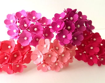 50 Paper Flowers Pink / mini pink paper flowers/pink flowers with stems/small paper flowers/mini flowers/mini pink flowers/pink fuschia