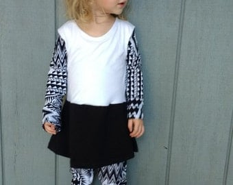 SALE Toddler - 2T Baby Pants -Outfit Leggings - Black White - Aztec - Tribal - Zigzag - Organic - Cotton - Jersey - Knit - tunic dress- Soft