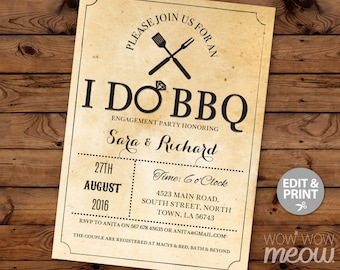 I Do BBQ Invitation Couples Shower Invite Engagement Party Printable INSTANT DOWNLOAD Wedding Rehearsal Garden Rustic Personalize Editable