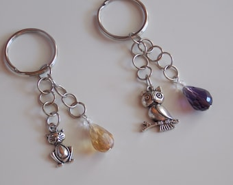 """Handmade Keychain with colorful Crystal and charm-Handmade keychain with crystal and charm """"Animals"""""""