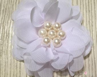 """White Chiffon Flower Hair Clip- 2.5"""" Hair Clip"""
