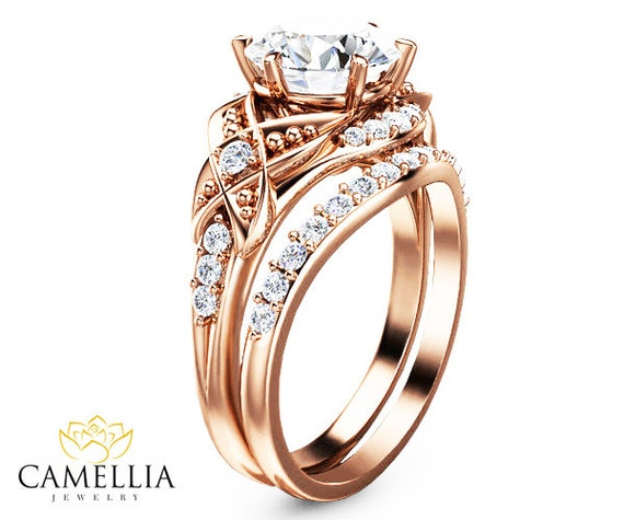 Rose Gold Vintage Engagement Ring Set Moissanite Engagement