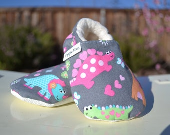 Girly dinosaur shoes, girl dinosaur outfit, baby shoes, baby moccasins, play shoes, toddler house shoes, soft sole shoes, dinosaur birthday