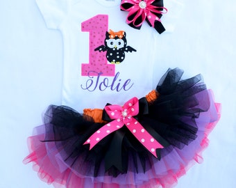 My first Halloween Thanksgiving fall birthday tutu outfit first second birthday girl pink black purple orange Halloween first birthday girl