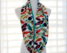 Bright Colorful Feather Print T Shirt Scarf Jewel Tones Emerald Green Wrap Bird Scarf casual Ornithology Lover Gift Boho Print Scarf Green