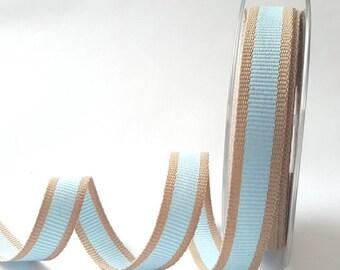 Sky Blue Oatmeal Stripe 15mm Woven Ribbon