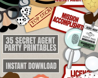35 Secret Agent Party Photo Booth Props, Spy themed photo props, secret agent party photobooth sign, spy party props, diy spy party