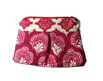 Small Cosmetic Bag - Bright Pink with Lining