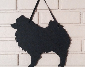 Keeshond  Handmade Chalkboard  Wall Hanging - Dog Shadow Silhouette - Country Decoration - Great Gift