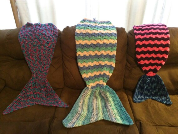 Crochet mermaid blanket with tail fin cocoon-type