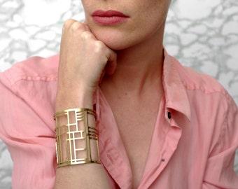 EDITH_Geometric Art Deco style brass cuff bracelet