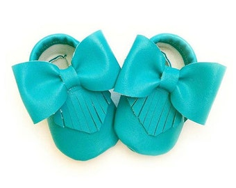 carribean blue baby moccasins