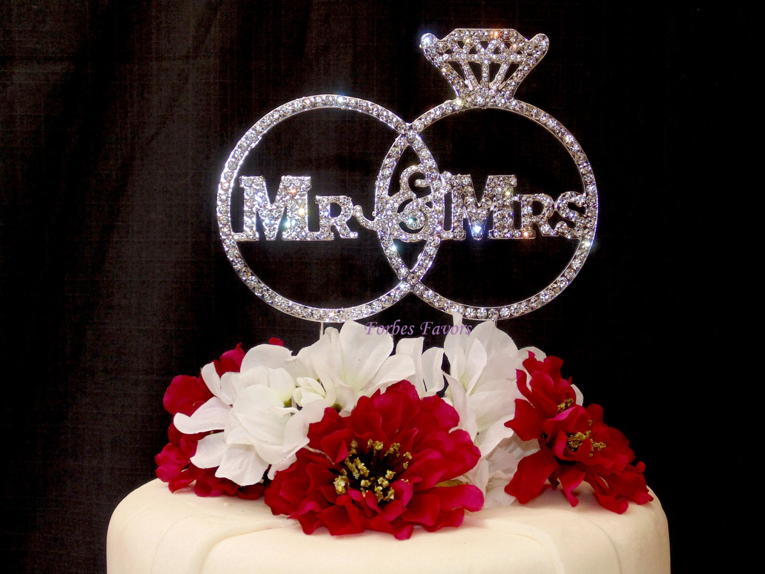 Gorgeous Mr & Mrs Real Rhinestone Rings Wedding Cake Topper
