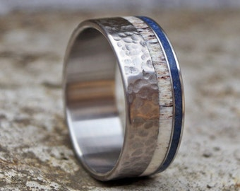 Titanium band ring deer antler and lapis lazuli inlay