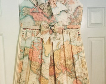 World map dress etsy world map handmade folded map dress vintagenursery decorroom decor gumiabroncs Choice Image