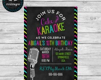 Karaoke Party Invitation, Karaoke Birthday Party Invite
