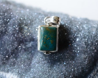 Genuine Turquoise Locket Necklace Silver Gemstone Locket Necklace Silver Locket Necklace Turquoise Locket Turquoise Jewelry Turquoise Poison