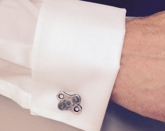 Upcycled Bike Chain Cuff Links - Cycling chain, wedding cufflinks, Father's Day gift