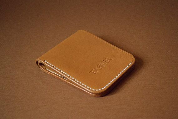 Slim Bifold Leather Wallet Light Brown by TafferLeatherGoods