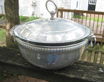 Hammered Aluminum And Pyrex Covered Casserole, 1 1/2 Qt. Pyrex Casserole Dish, Kitchen Serving Piece, Covered Dish Carrier, Church Potluck