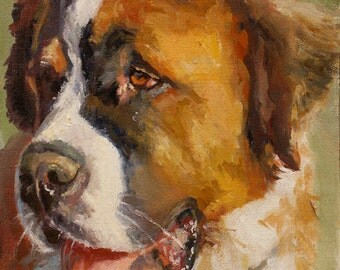 Dog Portrait, St. Bernard, oil painting