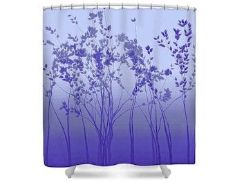 Purple And Silver Shower Curtain Fabric Tree Twilight Ombre Gray Blue Intended Design Decorating